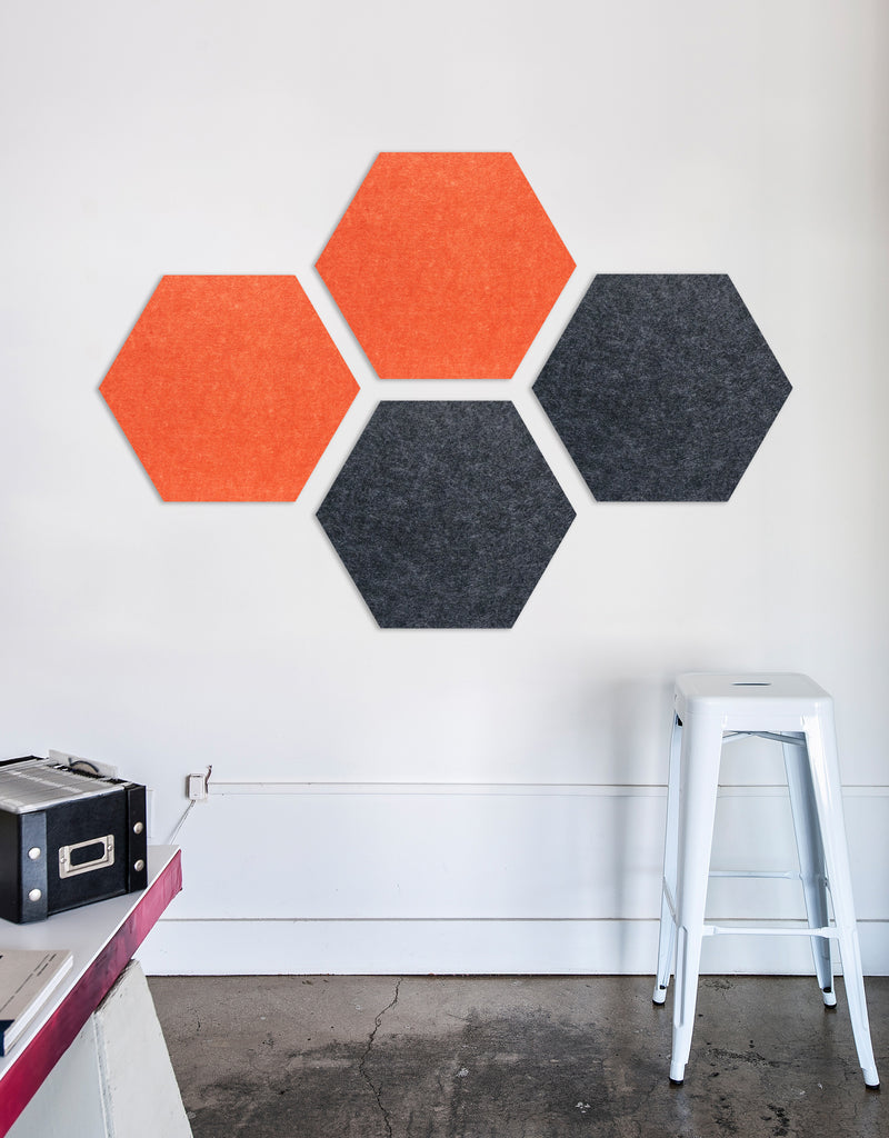 Hexagon Pinboard, Small in Tangerine