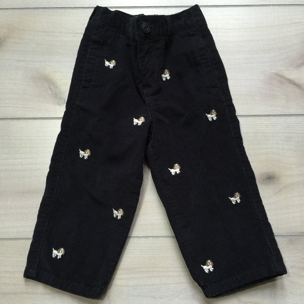 Gymboree Navy Dog Embroidered Corduroy Pants