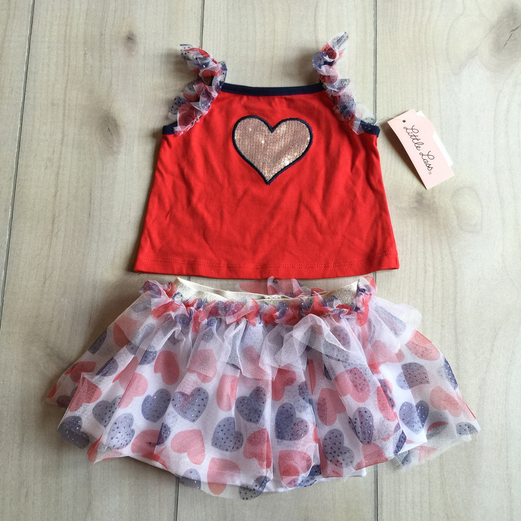 NEW Little Lass Patriotic Tank & Skort Set