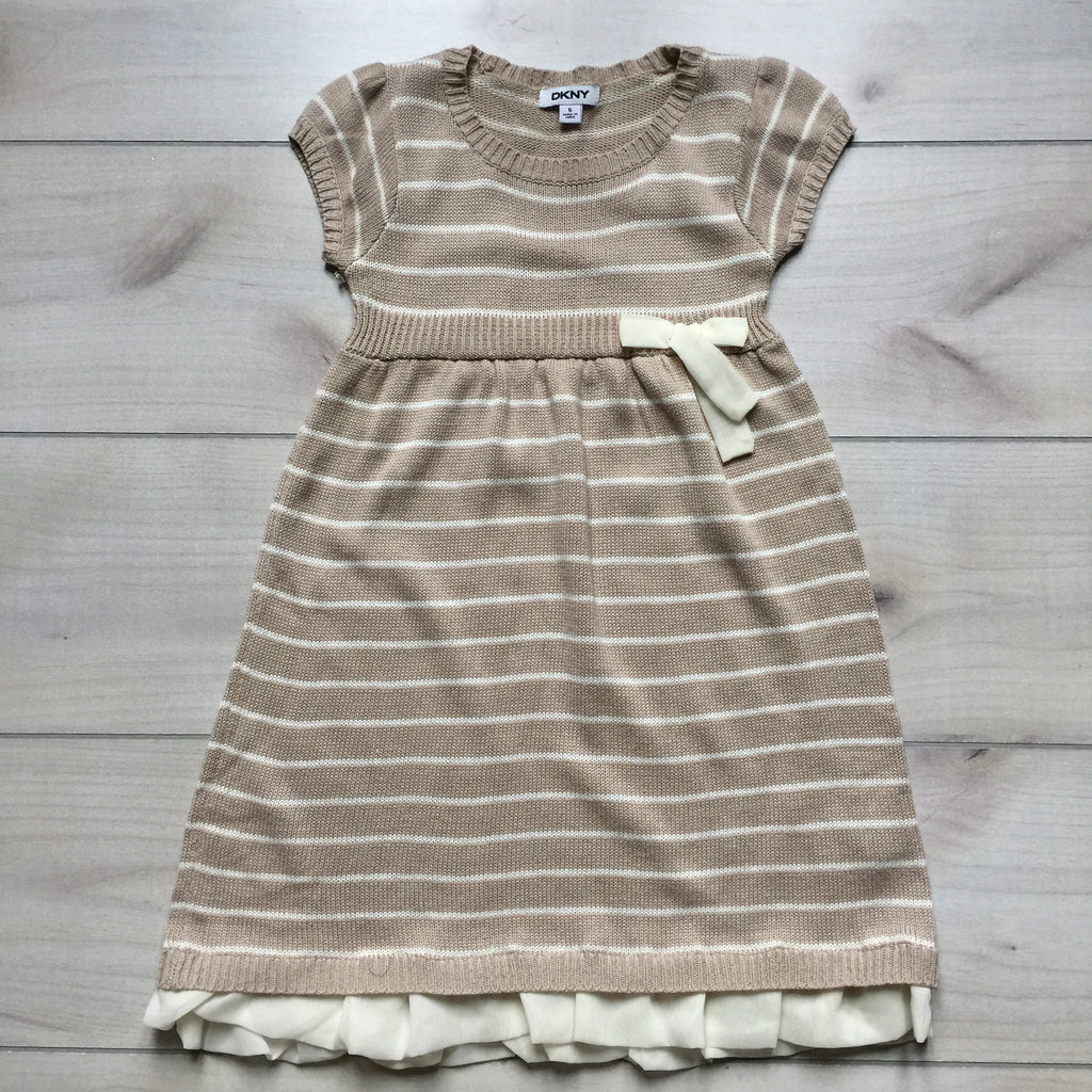 DKNY Tan Striped Sweater Dress