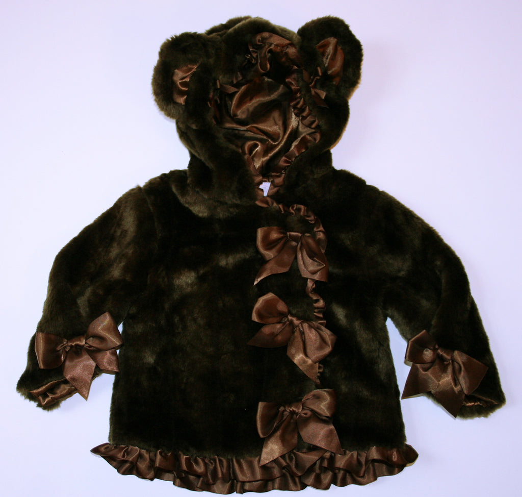 Mud Pie Faux Fur Brown Bear Coat
