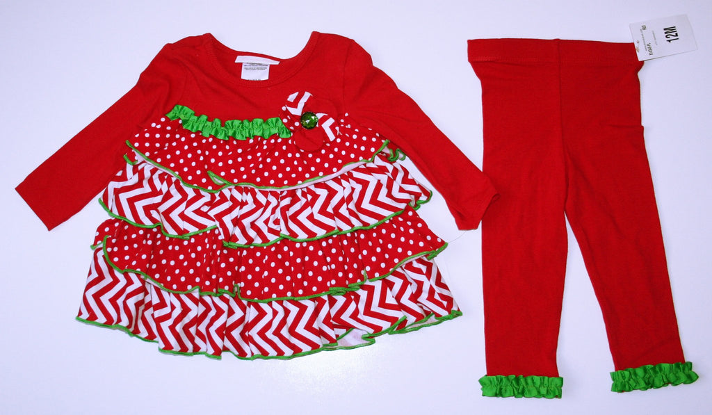 Bonnie Baby Red & Green Holiday Outfit NEW