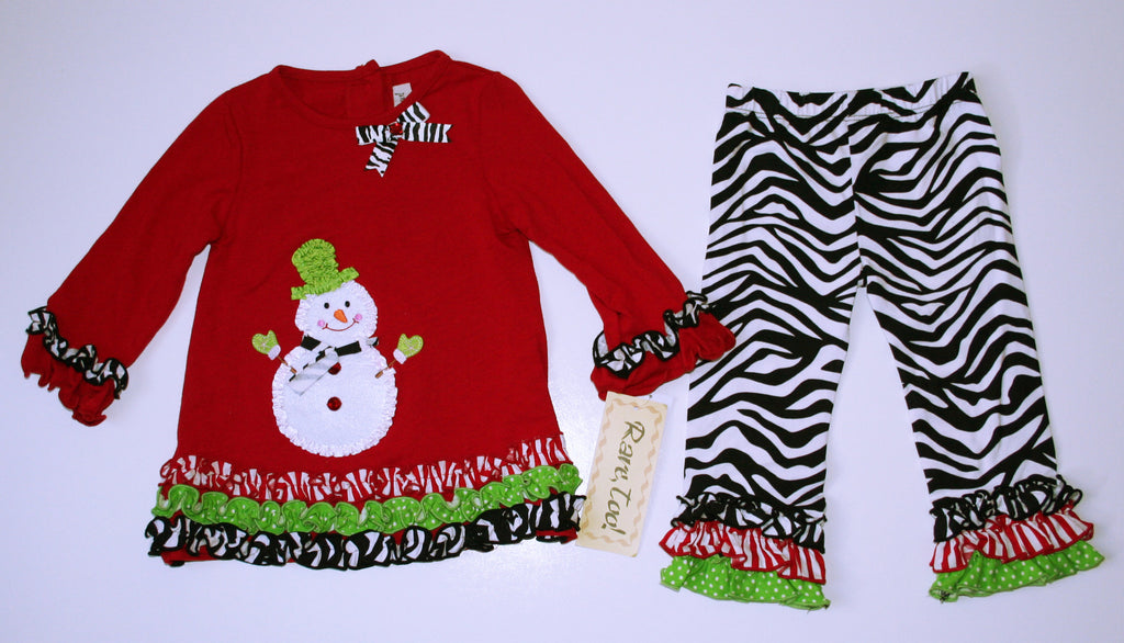 Rare, Too Snowman Applique Outfit NEW