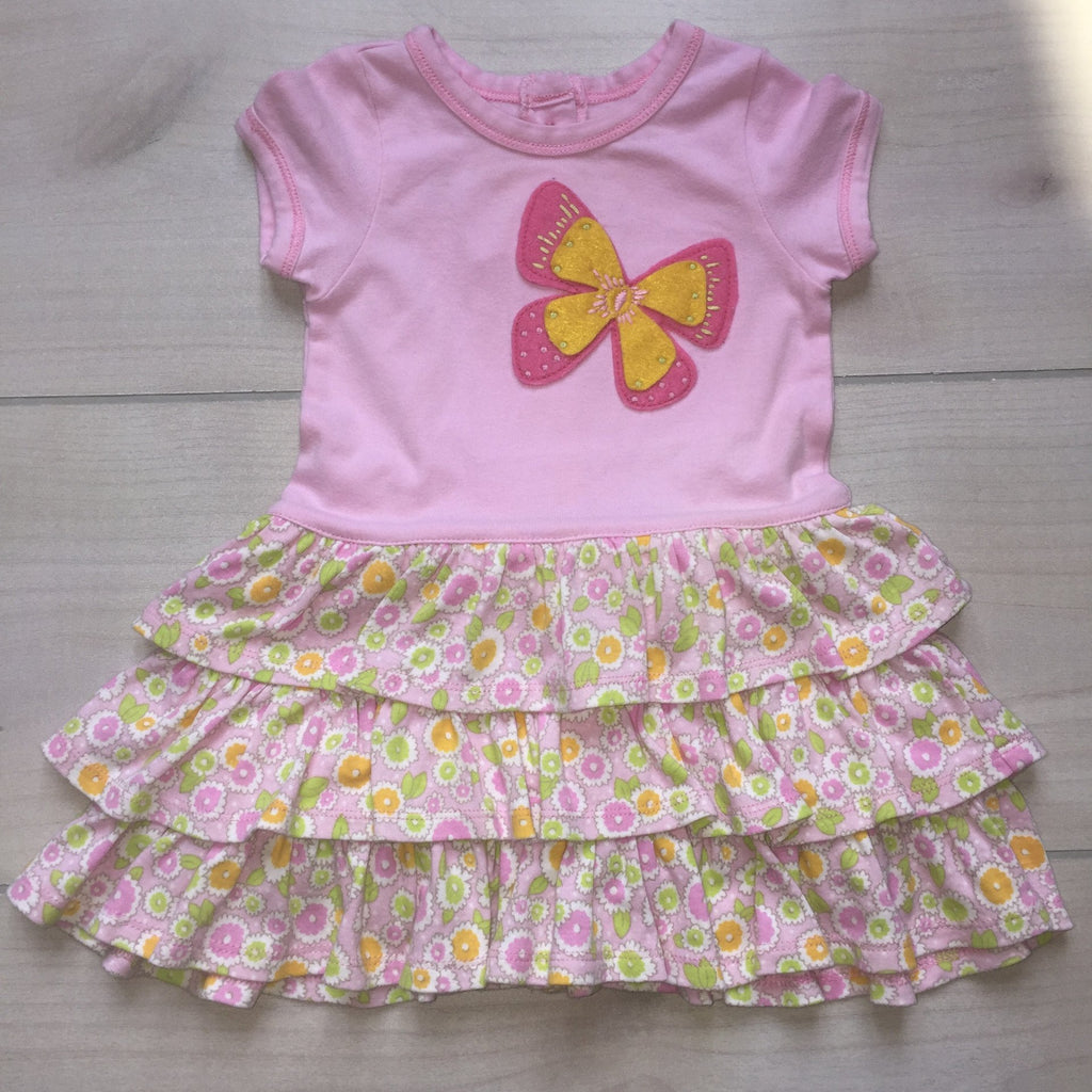 Baby LuLu Pink Butterfly Ruffle Dress