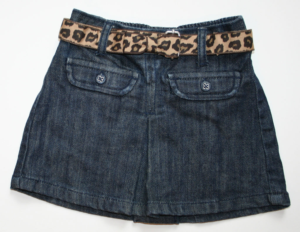 Janie & Jack Leopard Belted Denim Skirt NEW