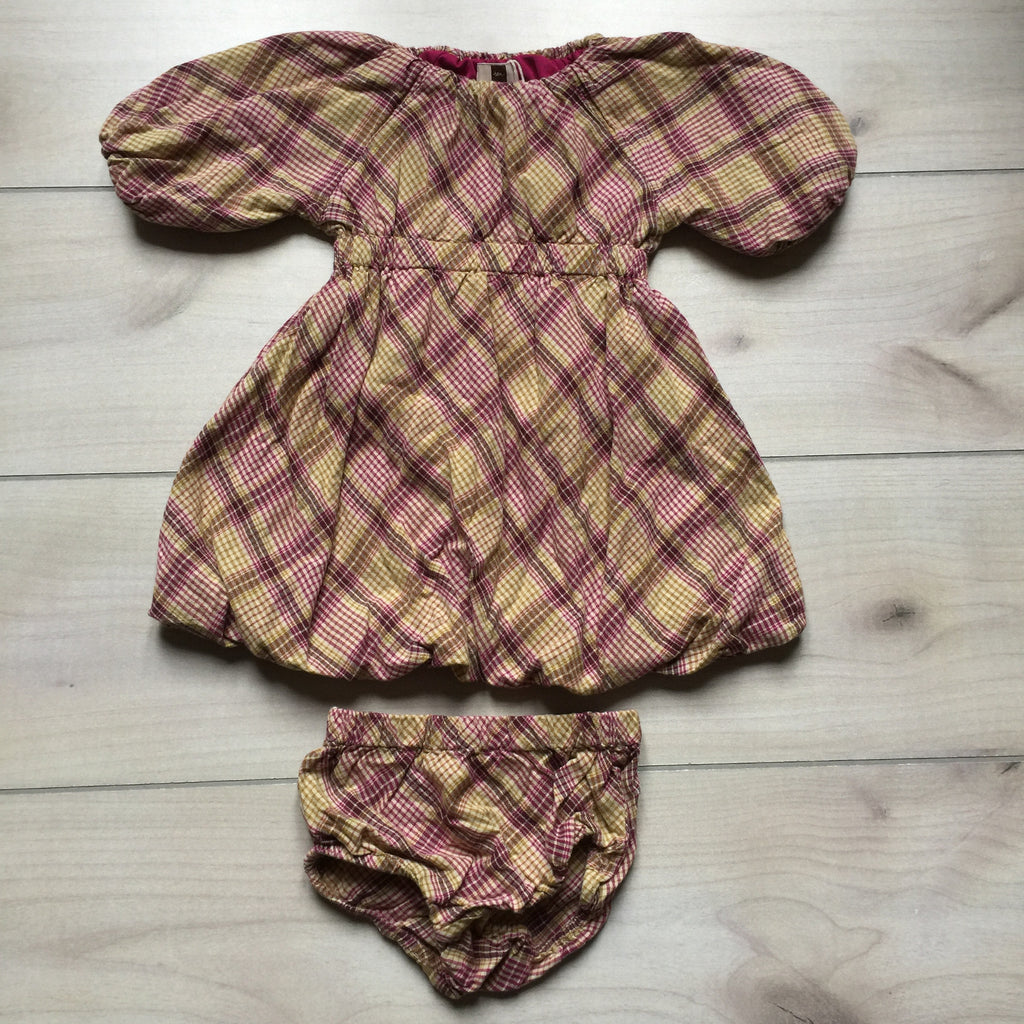 Tea Collection Purple & Tan Plaid Bubble Bottom Dress & Bloomer