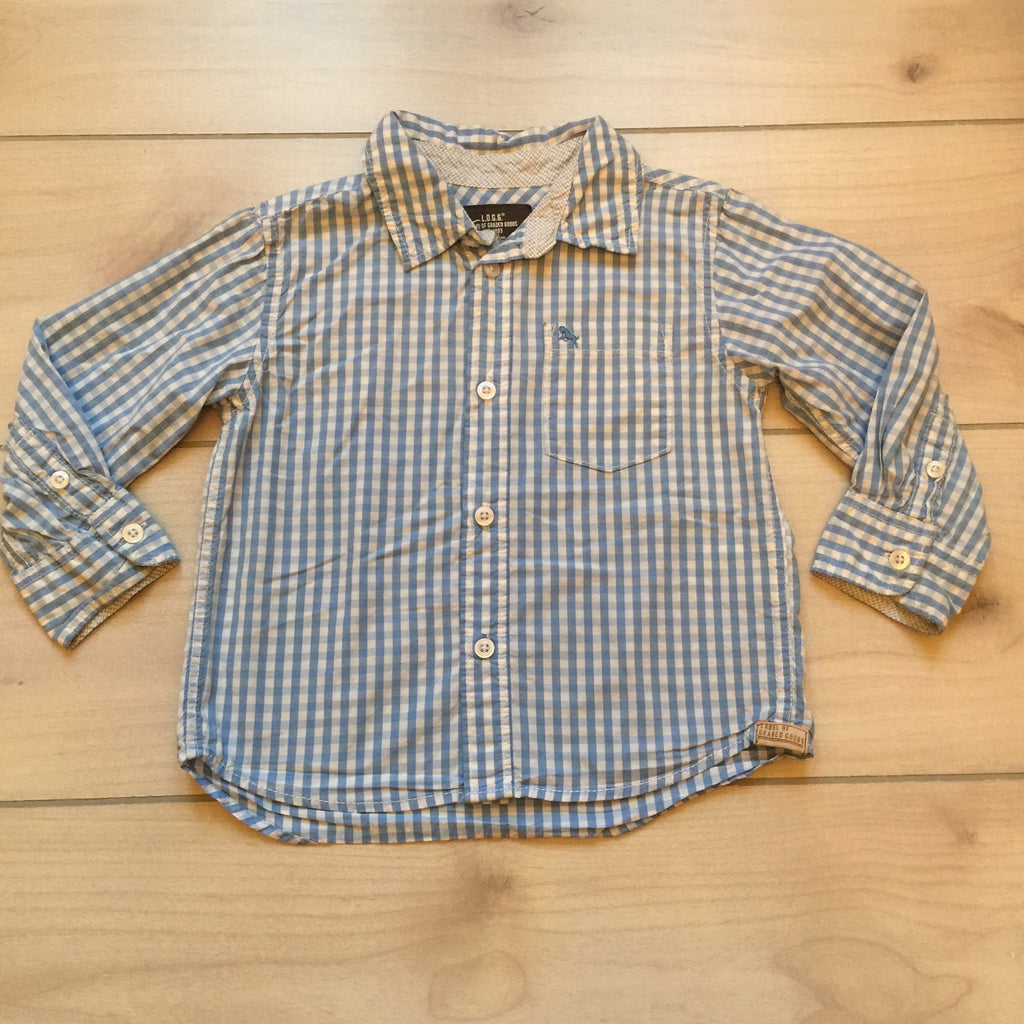 H&M Blue & White Checkered Shirt