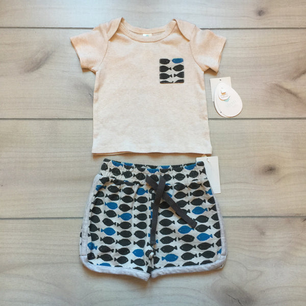 NEW Stem Organic Cotton Fishy Pattern Shirt & Short Set