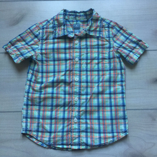Baby Gap Green Plaid Short Sleeve Button Down Shirt