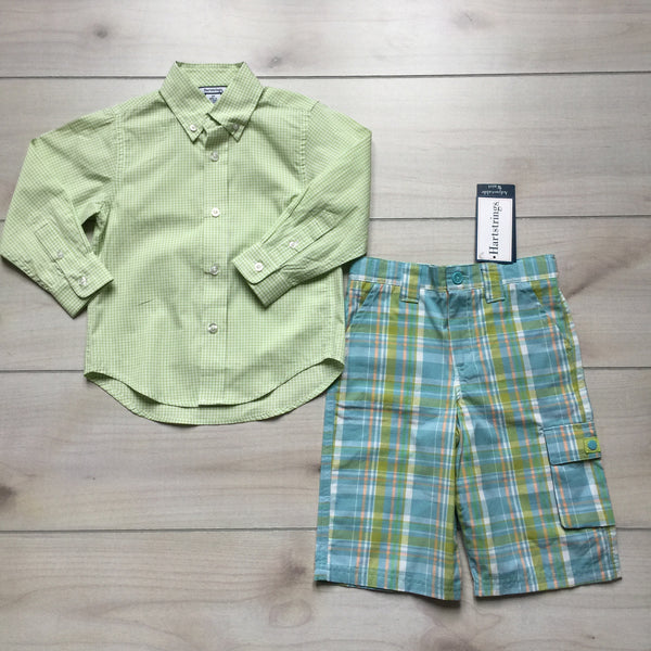 NEW Hartstrings Green Gingham Shirt & Matching Pants