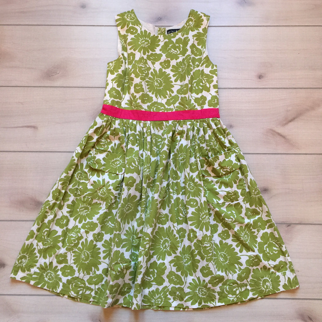 Mini Boden Green Floral Pocket Dress