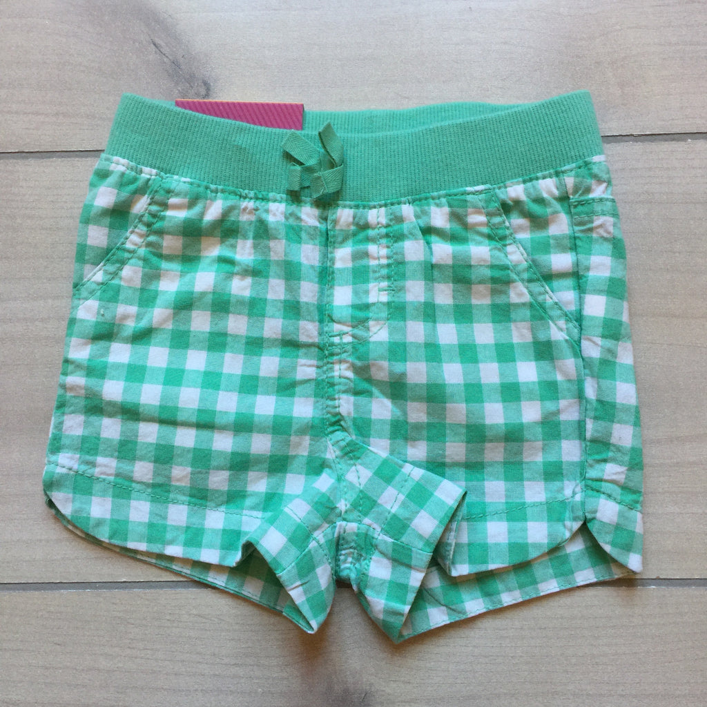 NEW Cherokee Green & White Checkered Elastic Waist Shorts