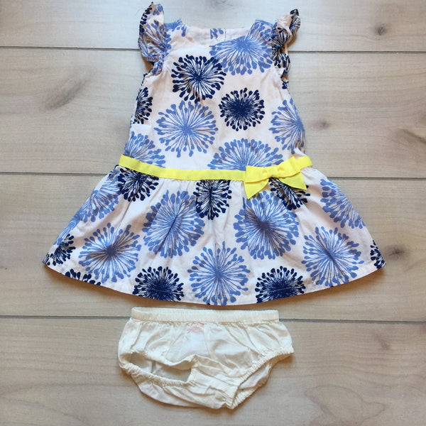 Gymboree Blue & White Print Dress & Bloomer