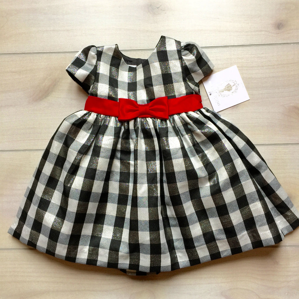 NEW Marmelleta Black & Silver Check Fancy Shimmer Dress
