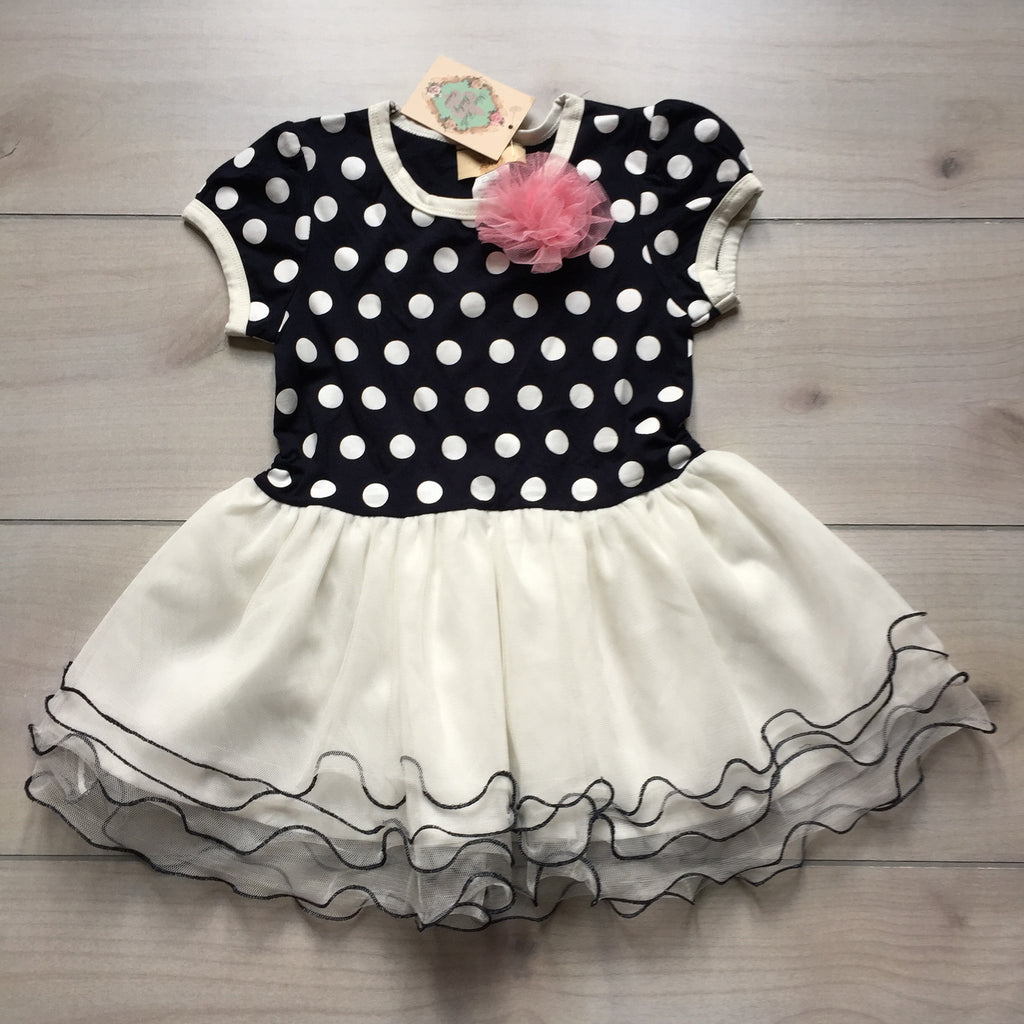 NEW Mia Belle Baby Couture Navy & White Polka Dot Ruffle Dress