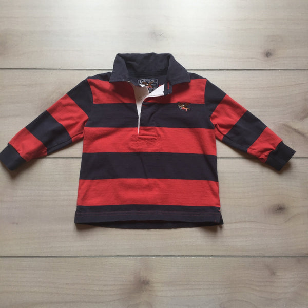 American Living Red & Navy Striped Rugby Style Shirt