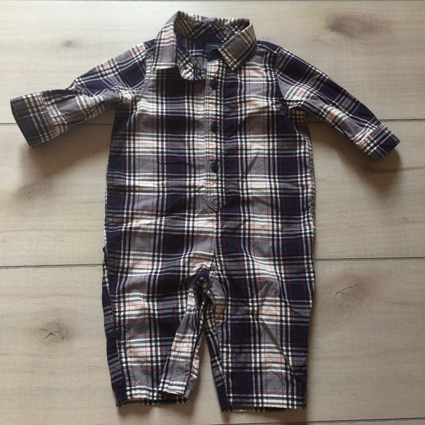 Baby Gap White & Navy Plaid Romper