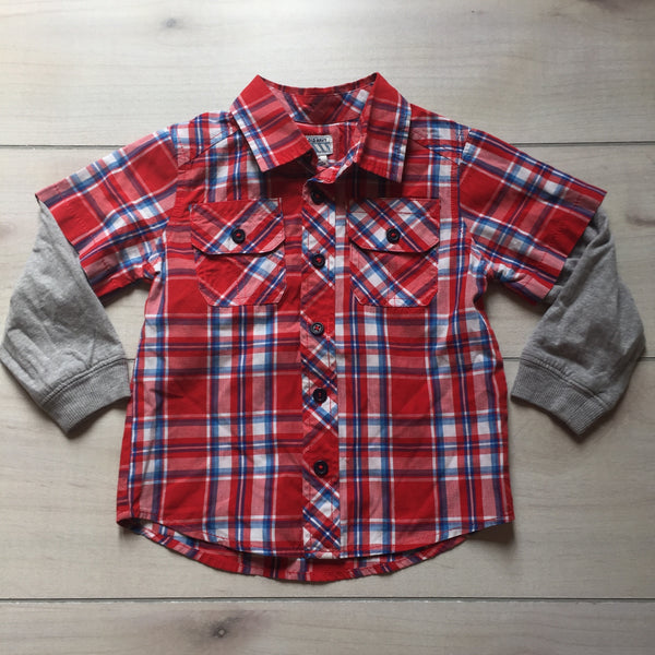 Old Navy Red Checkered Shirt with Gray Underlay
