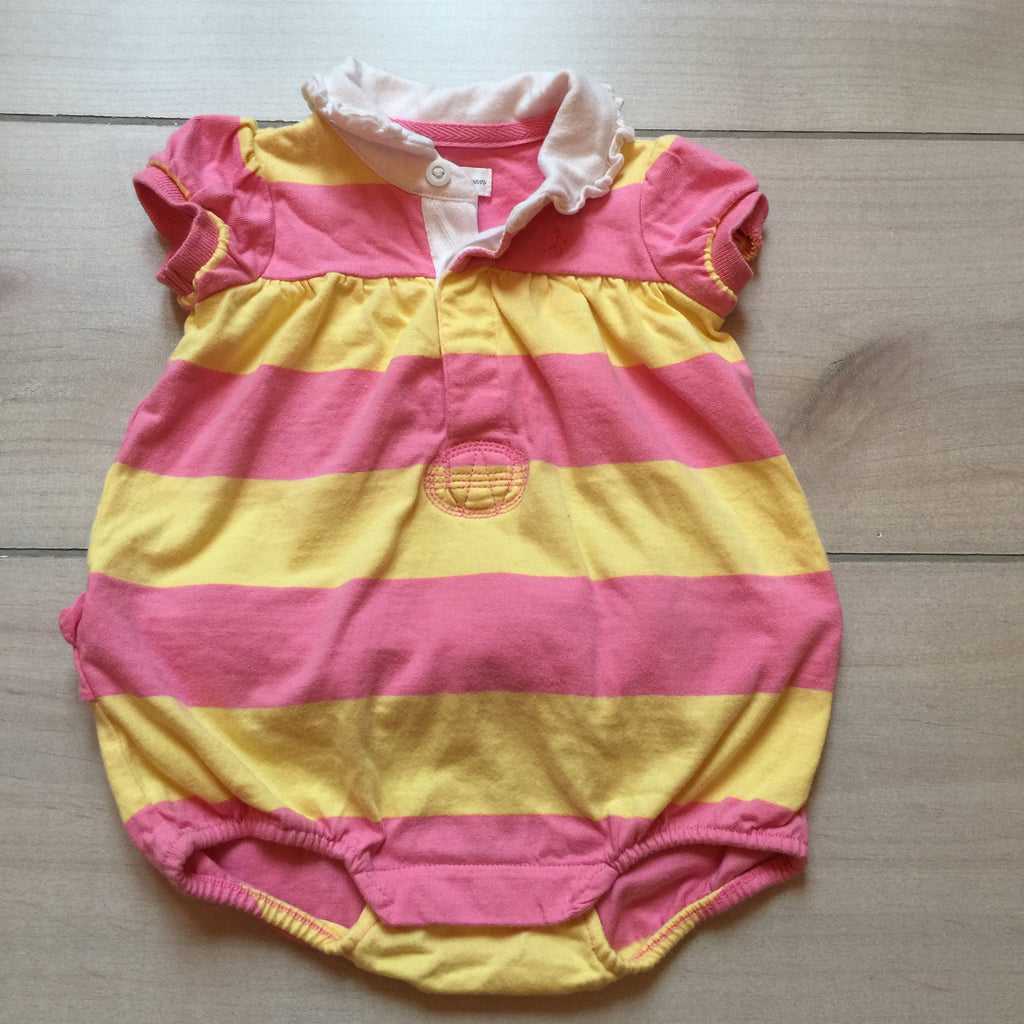 Ralph Lauren Pink & Yellow Striped Bubble Romper