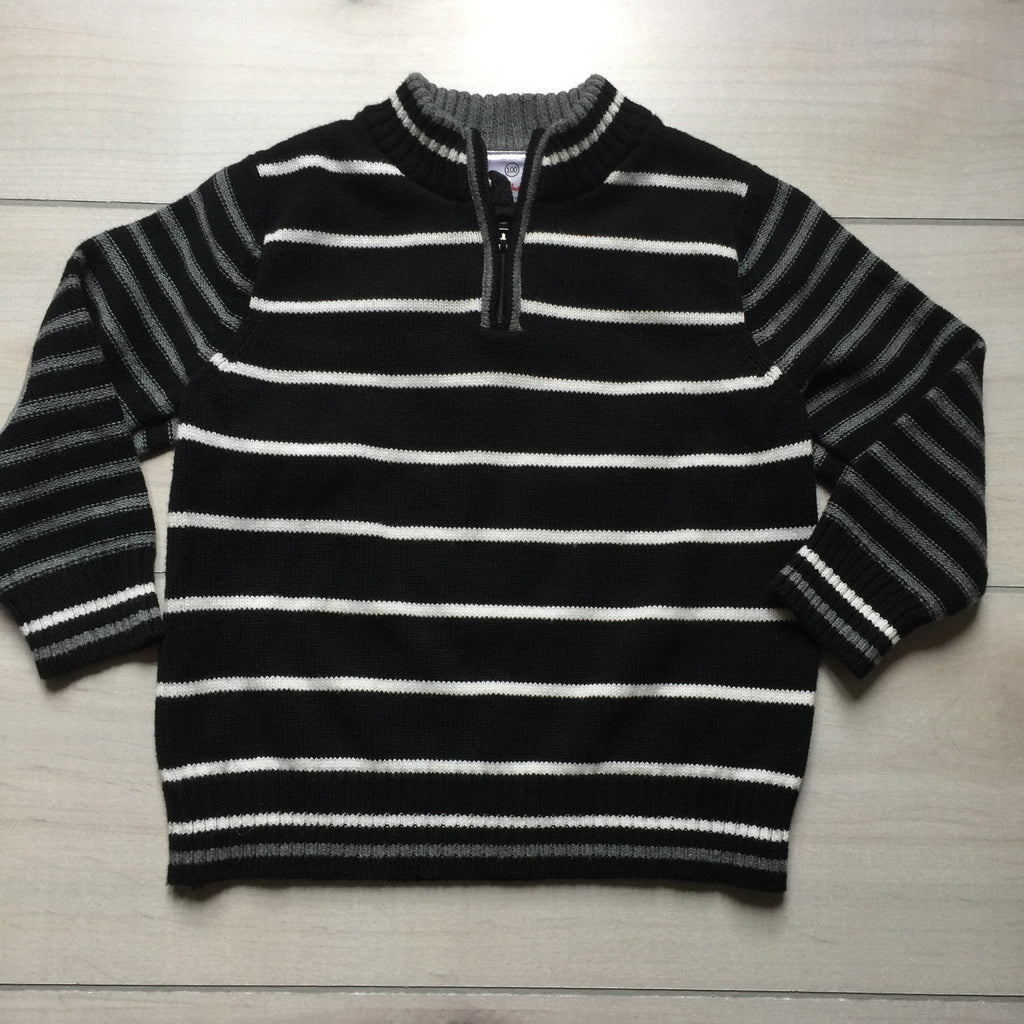 Hanna Andersson Black White & Gray Elbow Patch Pullover Sweater