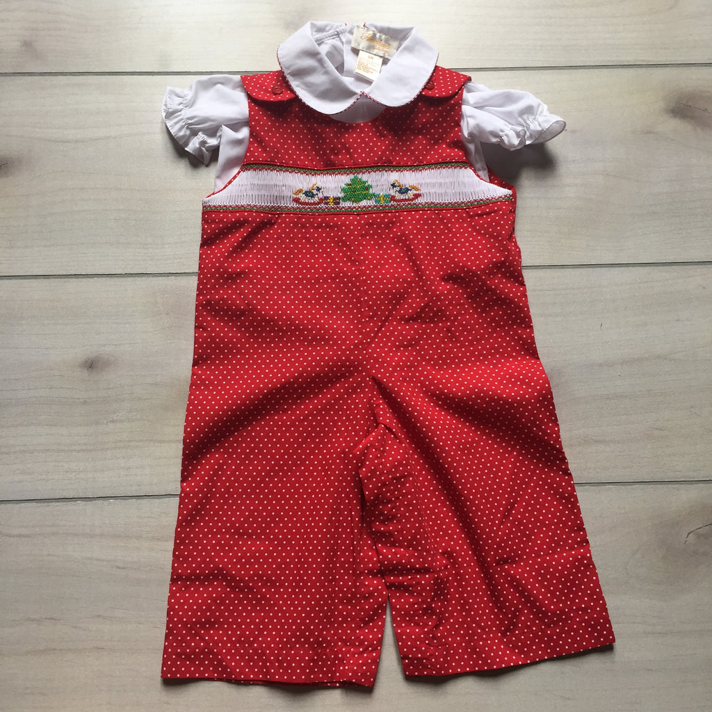 Rosalina Smocked Christmas Tree Holiday Romper & Shirt