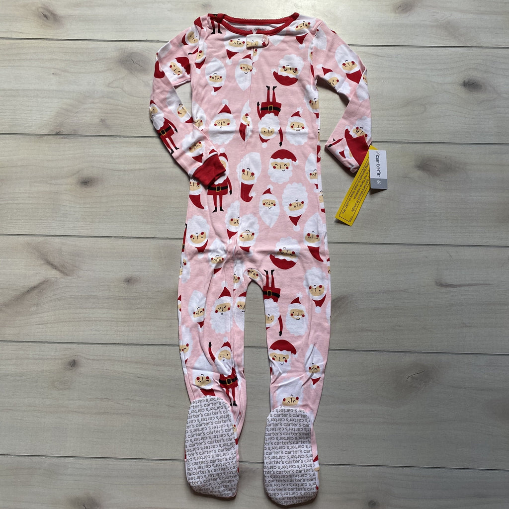 NEW Carter's Pink Footed Zipper Santa Pattern One Piece Cotton Pajama One-Piece Sleeper