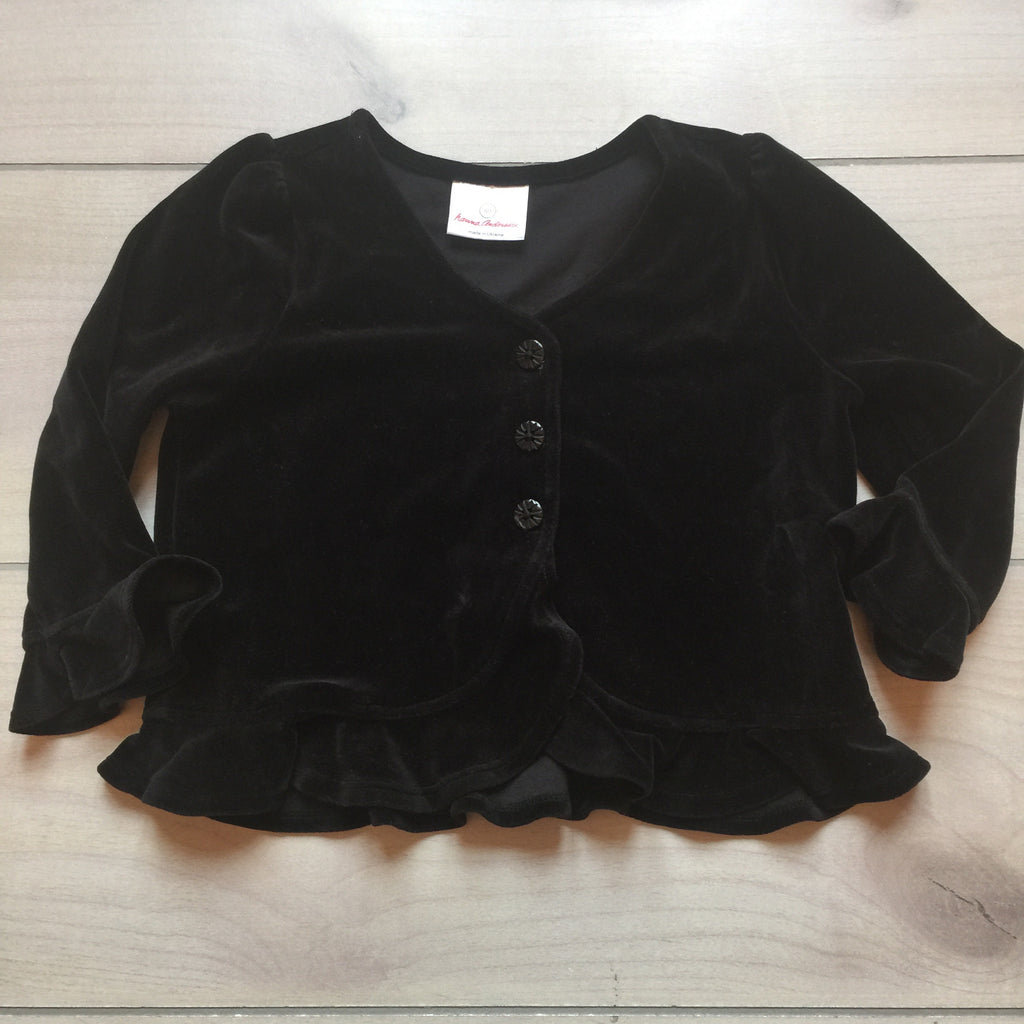Hanna Andersson Black Velour Sweater Cardigan