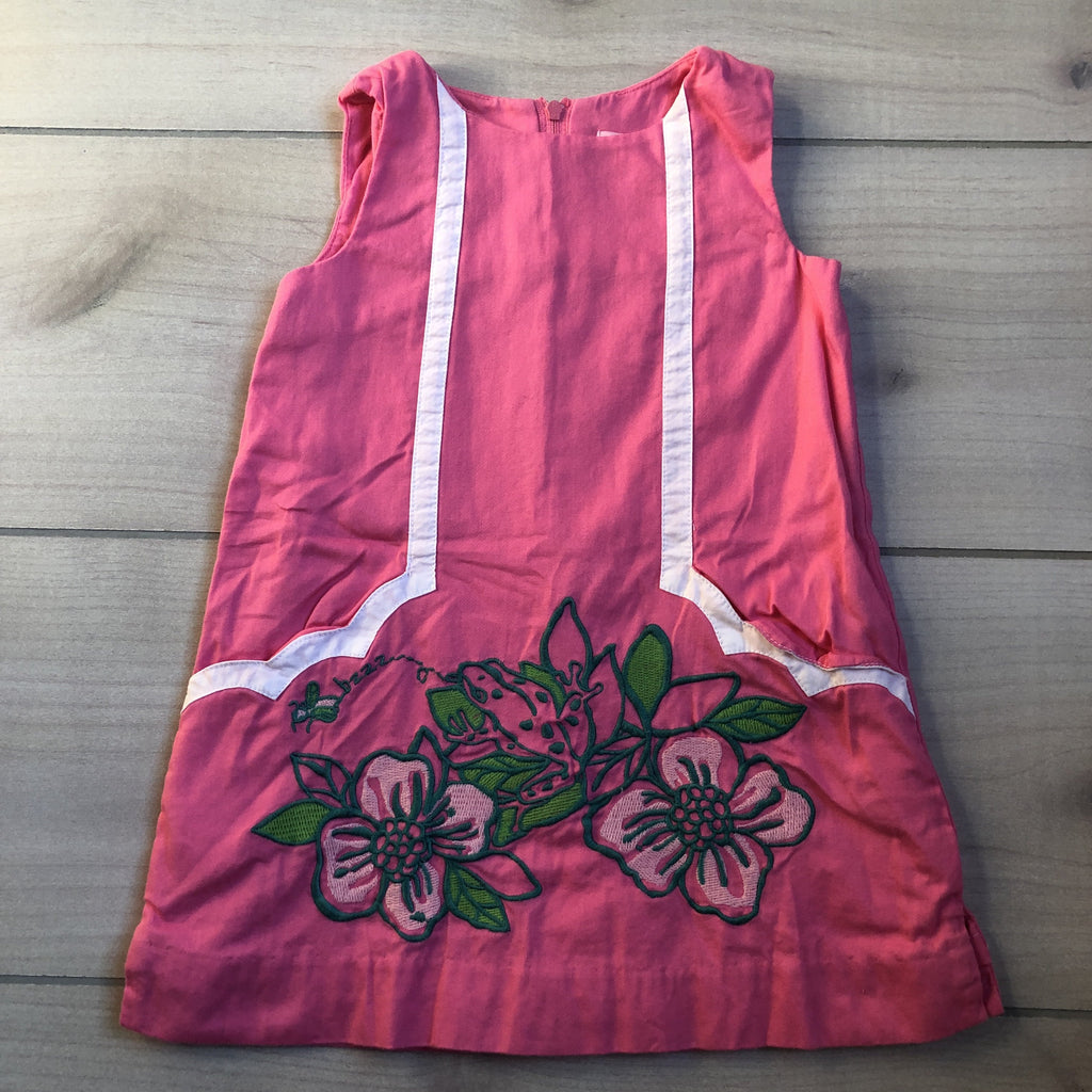 Lilly Pulitzer Pink Tropical Floral Applique Shift Dress
