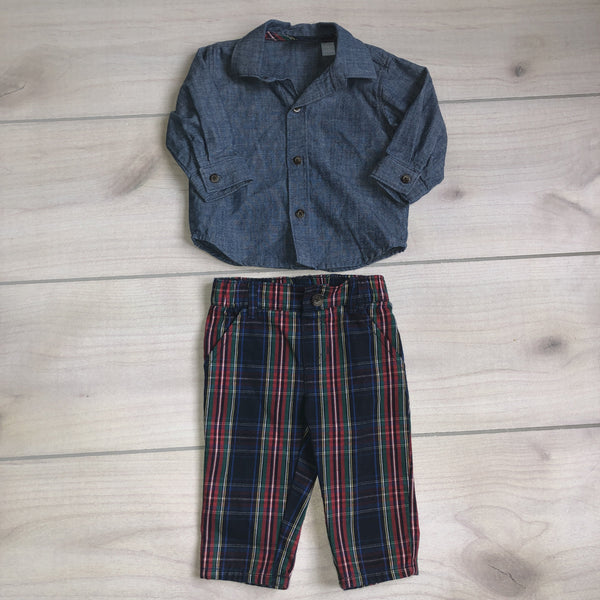 Children's Place Chambray Plaid Outfit - Sweet Pea & Teddy