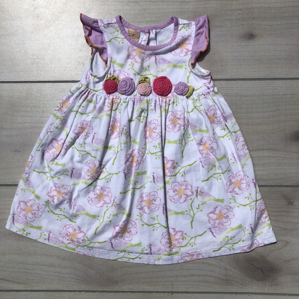 Baby LuLu Pink & White Floral Birdie Cotton Dress