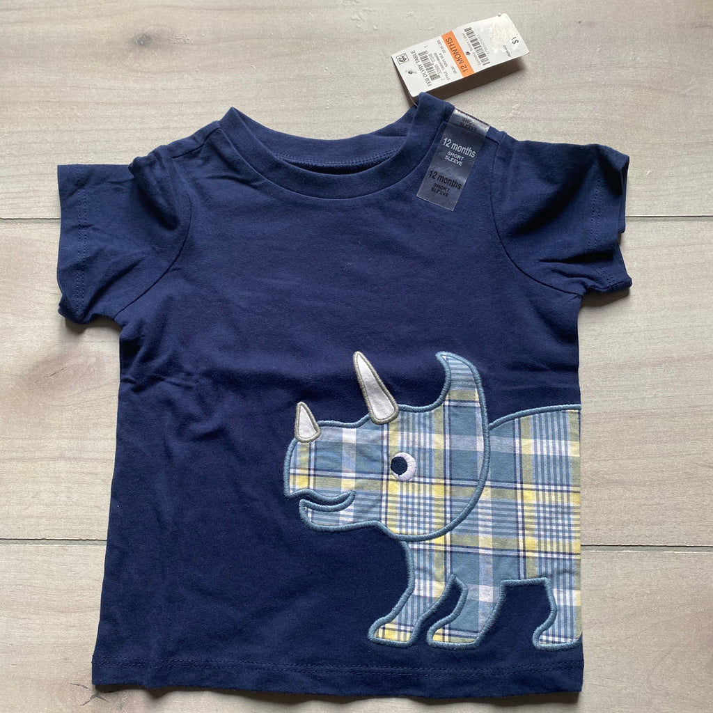 NEW First Impressions Rhino Applique Tee Shirt