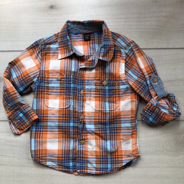 Baby Gap Blue & Orange Plaid Button Down Shirt