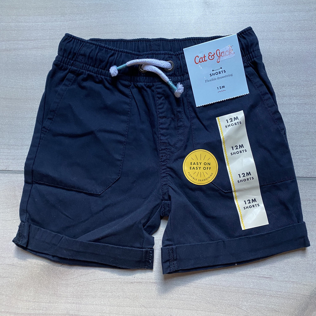 NEW Cat & Jack Navy Blue Pull On Elastic Waist Shorts