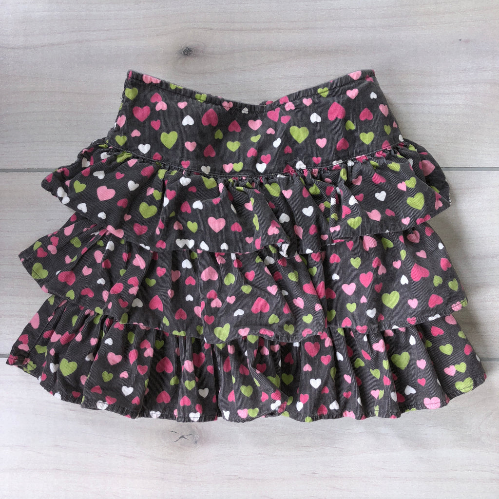 Gymboree Corduroy Heart Pattern Ruffle Skirt