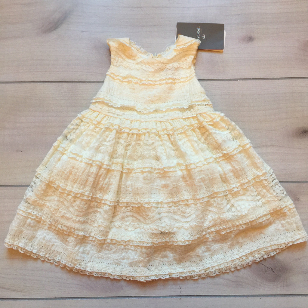 NEW Mayoral Chic Natural Cream Knit Lace Design Dress