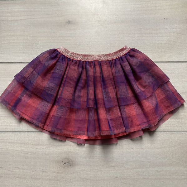 Cherokee Blue & Pink Gingham Checkered Tulle Elastic Waist Skirt - Sweet Pea & Teddy
