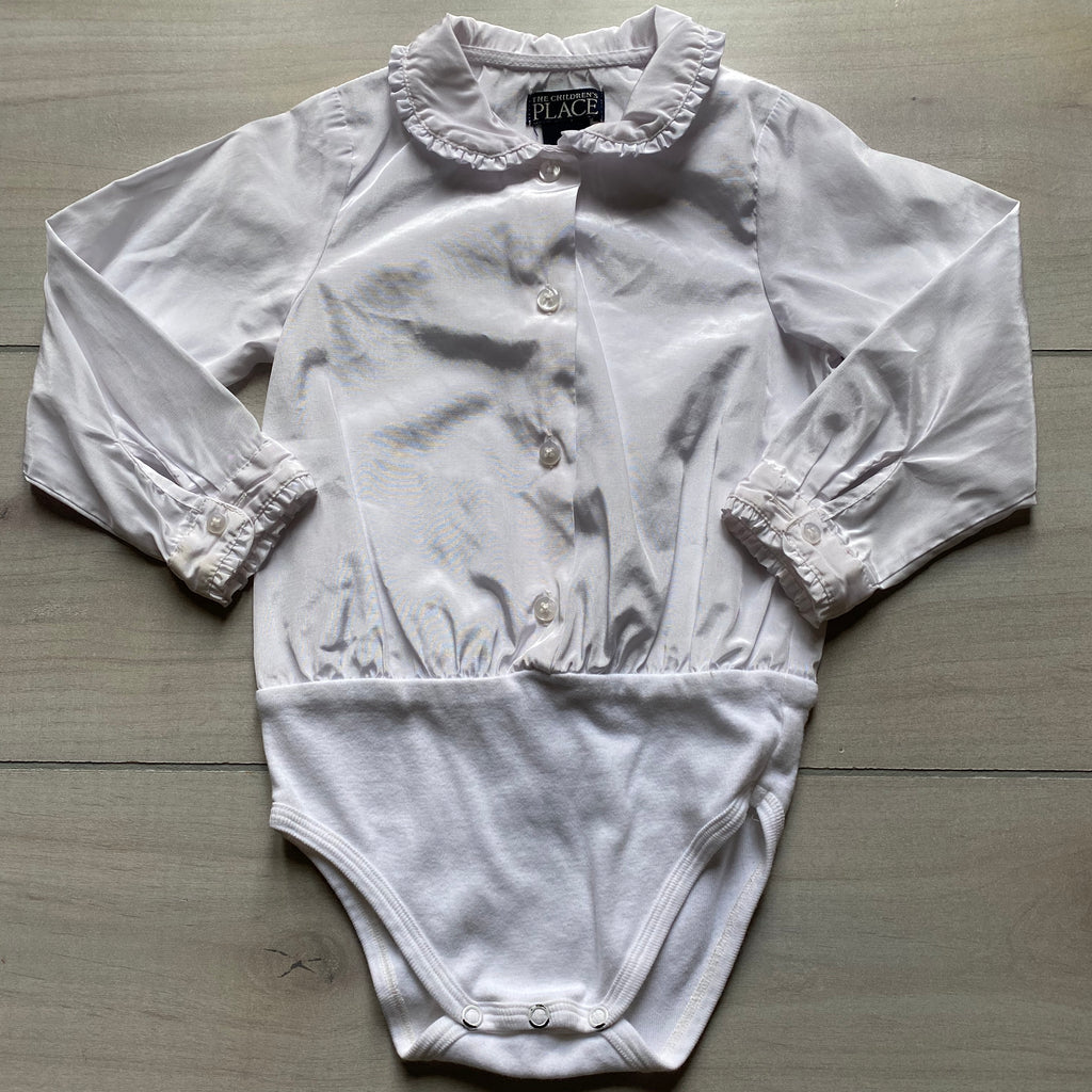 Children's Place White Silky Polyester Collared Onesie Shirt