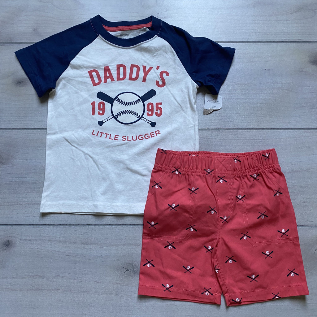 NEW Carter's Daddy's Slugger Baseball Short Set