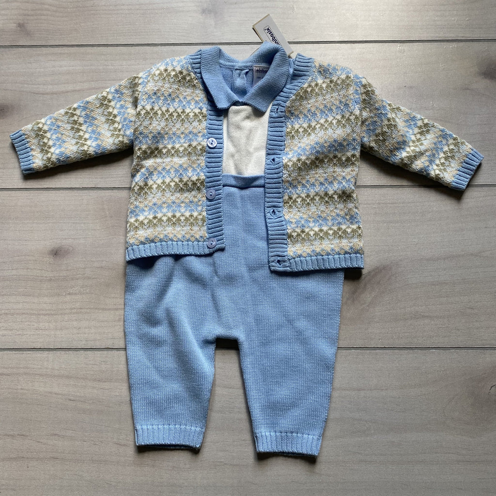 NEW MiniBasix Two Piece Sweater Romper & Argyle Cardigan - Sweet Pea & Teddy