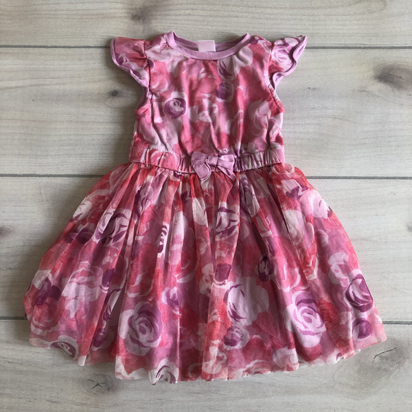Gymboree Floral Pink & Purple Tulle Overlay Dress