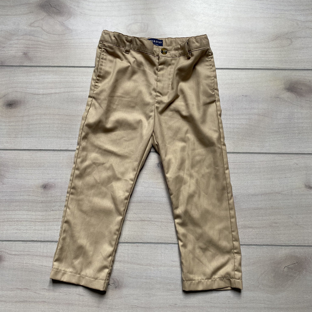 Andy & Evan Khaki Elastic Waist Pants - Sweet Pea & Teddy