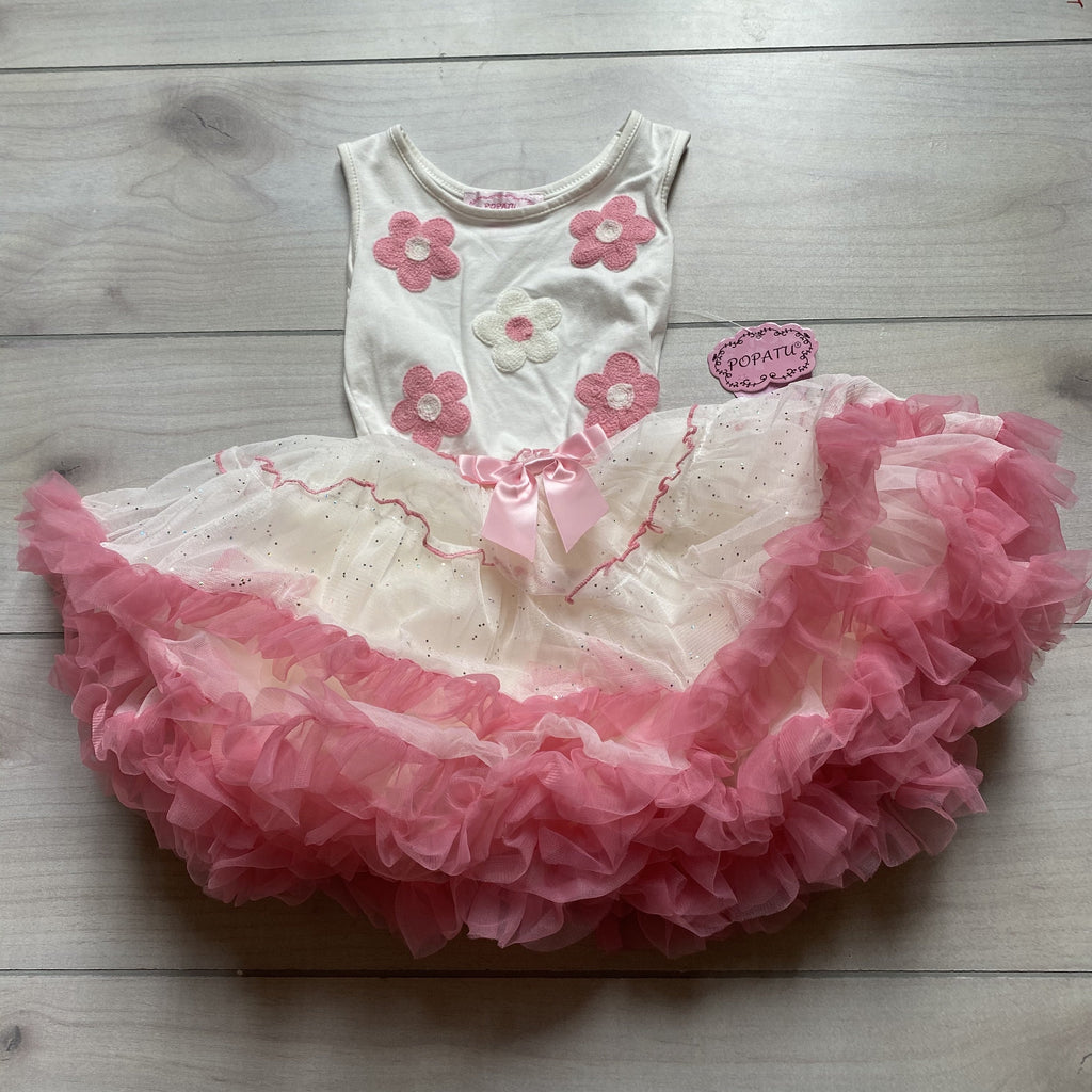 NEW Popatu White Daisy Silver Sparkle Pink Tulle Bottom Dress - Sweet Pea & Teddy