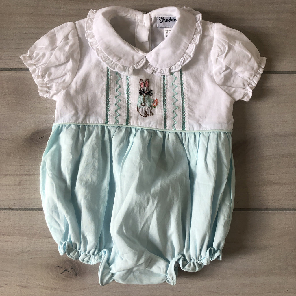 Smockingbird Aqua & White Peter Rabbit Smocked Bubble Romper - Sweet Pea & Teddy