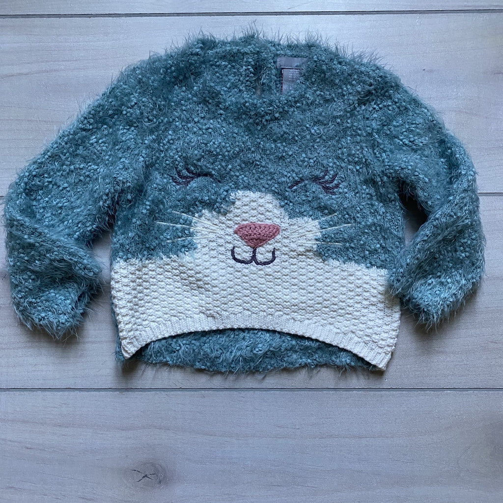 Fuzzy Blue Kitty Sweater - Sweet Pea & Teddy