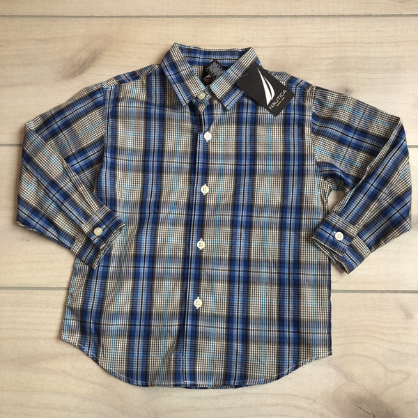 NEW Nautica Blue Plaid Button Down Shirt