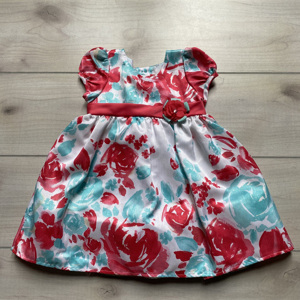 Rare Editions White Coral & Aqua Flower Polyester Dress - Sweet Pea & Teddy