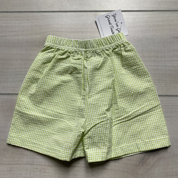 NEW Boutique Brand Lime Green Gingham Seersucker Shorts