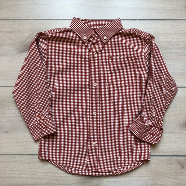 Gymboree Burnt Orange Checkered Button Down Shirt