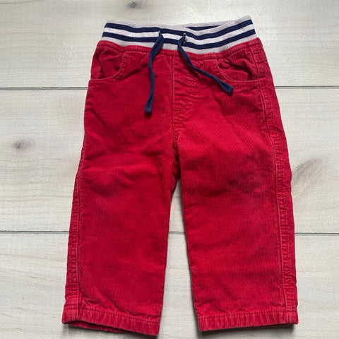 Baby Boden Red Corduroy Elastic Waist Drawstring Waist Pants