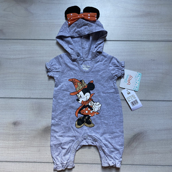 NEW Disney Baby Heather Gray Minnie Mouse Hooded Halloween Theme Romper